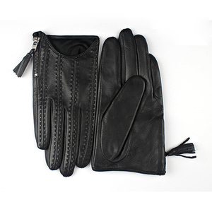 Image 4 - 2018 Fashion Hot Touch Screen Gloves Real Leather Imported Goatskin Tassel Zipper Short Black Female Models