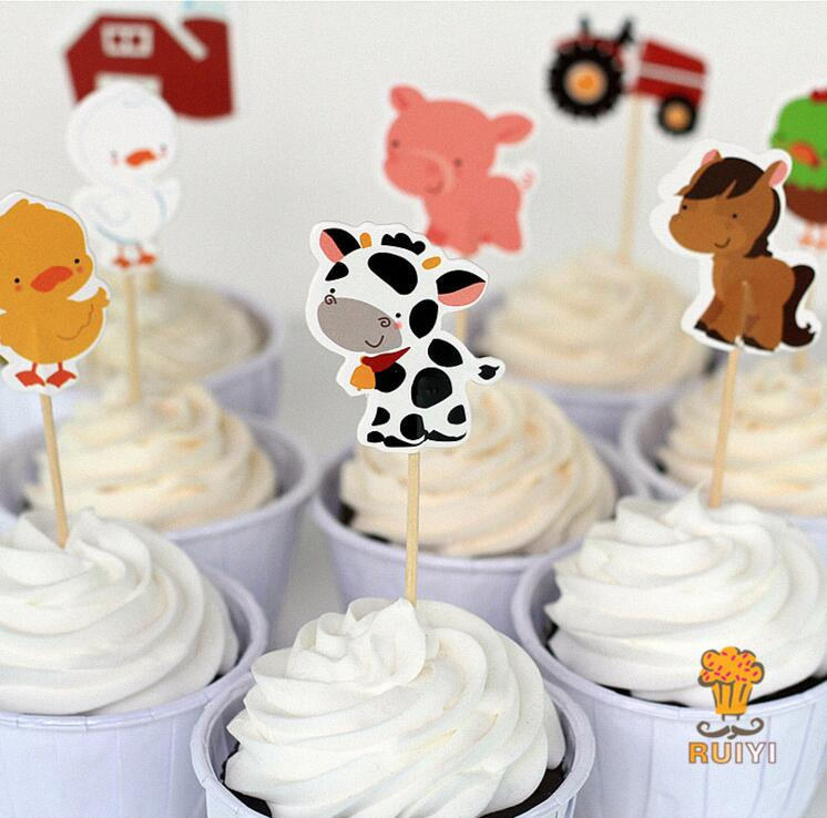 24 Pcs Lot Farm Animal Theme Party Supplies Cartoon Cupcake Toppers