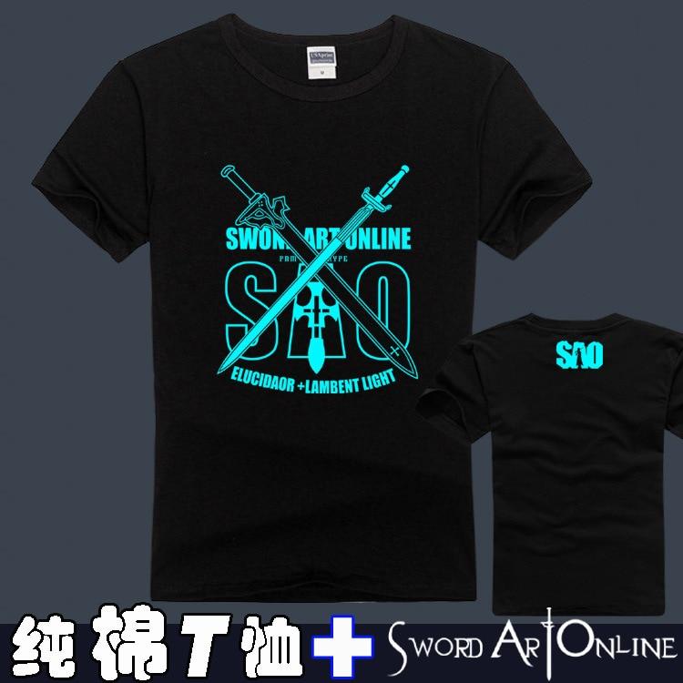 ®Меч Книги по искусству онлайн футболки Аниме SAO хлопок ...