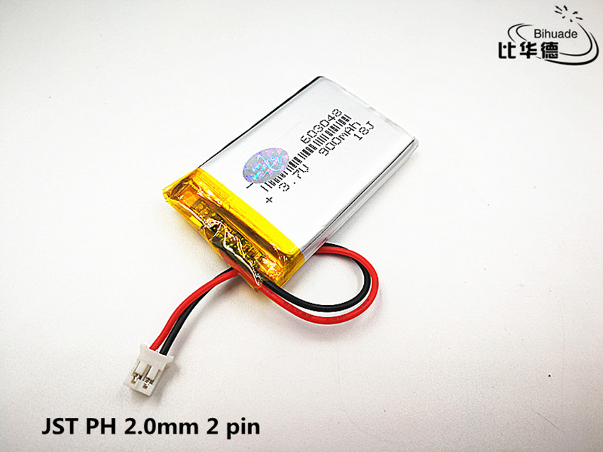 1pcs/lot JST PH 2.0mm 2 Pin Good Qulity 3.7V,900mAH,603048 Polymer Lithium Ion / Li-ion Battery For TOY,POWER BANK,GPS,mp3,mp4