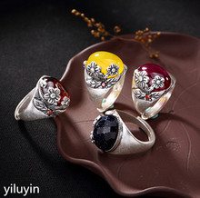 KJJEAXCMY Boutique jewelry S990 pure silver, antique topaz, pomegranate red plum blossom ring, high-end lady's opening ring. silver jewelry antique thai silver ring red pomegranate jewelry exaggerated black ore ring wedding rings