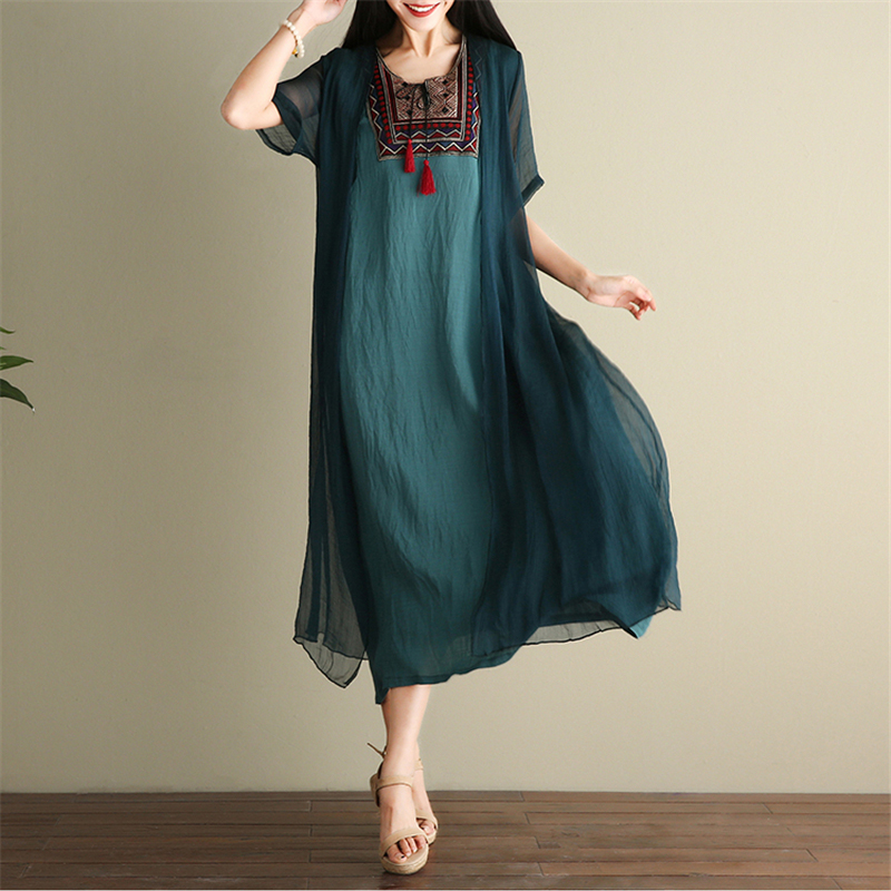 2018 Summer Folk style Embroidery Large Size Loose Dress Female Casual Short sleeved Cotton Linen Dress for Women Vestidos z656