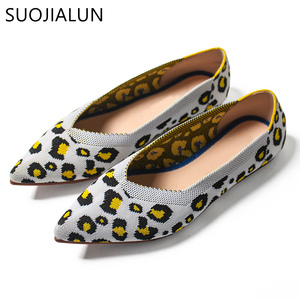 Image 5 - Suojialun 2019 新春の女性のフラットヒョウ柄女性靴カジュアルシングル靴のバレリーナ女性浅い口の靴