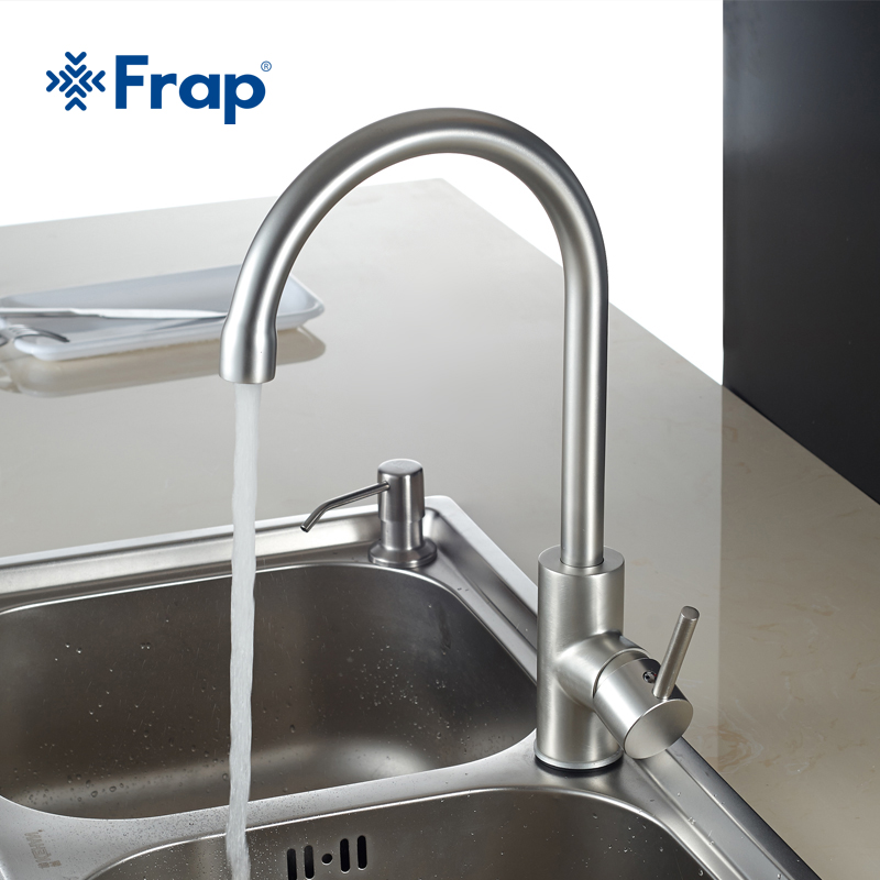 Frap New Hot and Cold Water Classic kitchen faucet Space Aluminum brushed process swivel Basin faucet 360 degree rotation FA4052 купить в Москве 2019
