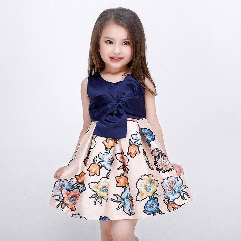 2019 New Style Baby Girls Sommer Navy Blue Floral Dress For Kids Girl Party Dress Udskriv Flower Girl Dresses L-94