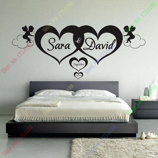 Custom made Personalised Name Hearts forever Wall Art Stickers Kid ...