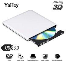 YAHEY USB 3.0 Blu ray External Optical Drive 3D Player BD-RE Burner Recorder DVD+/-RW/RAM Drives for Computer Windows7/8/10+Bag