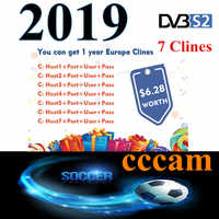 Europe HD cable 1 Year CCCams for Satellite tv Receiver 7 Clines WIFI FULL HD DVB-S2 Support Spain cline cccam Serverl 4k tv box