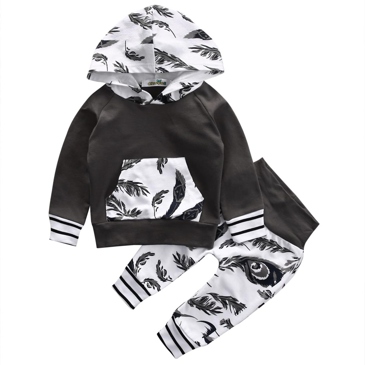 0-18 Mt Neugeborene Jungen Mädchen Kleidung Langarm Pullover Mit Kapuze Top T-shirt Hose 2 StÜcke Outfit Bebes Anzug Kleidung Set Kann Wiederholt Umgeformt Werden.
