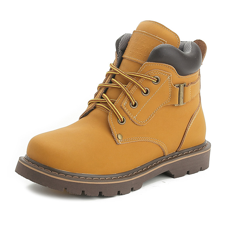 2017 Autumn/Winter Cow Leather Short Women Boots High Quality  Lace-Up Martin Boots Fashion Yellow Ankle Boots Women Shoes z suo brand new winter women motocycle boots leather lace up ankle martin boots shoes black brown high quality