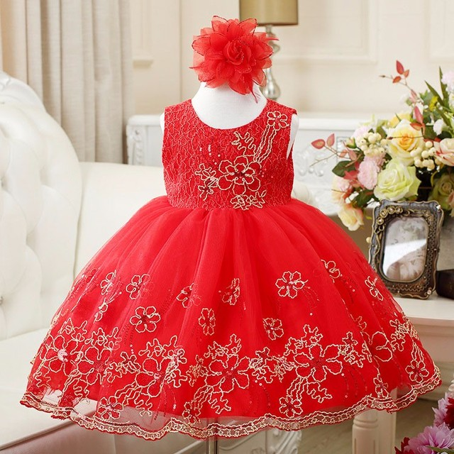 New Embroidery girls wedding dress for Christmas party sleeveless girls clothes red pink white lace bow with cotton lining