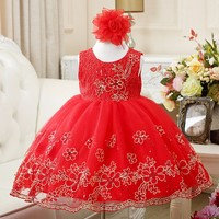 New Embroidery Girls Wedding Dress For Christmas Party Sleeveless Girls Clothes Red Pink White Lace Bow