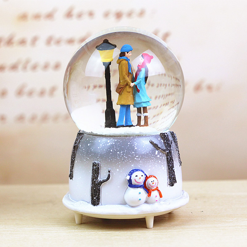 Glass LED Glow Ball Sphere Crystal Ball Creative Desktop Decoration Crafts Figurines Miniatures in Figurines Miniatures from Home Garden