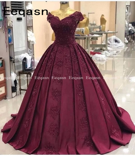 Elegant Robe de soiree 2019 Sexy Cap Sleeves Lace Evening Dress For Party Gown Burgundy Long Prom Dress gala jurk 6