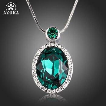 daa0f72e0254 AZORA para siempre amor Luz de Corazón Azul Stellux cristal austriaco  clásico colgante collares para regalo de día de San Valentín de amor TN0195
