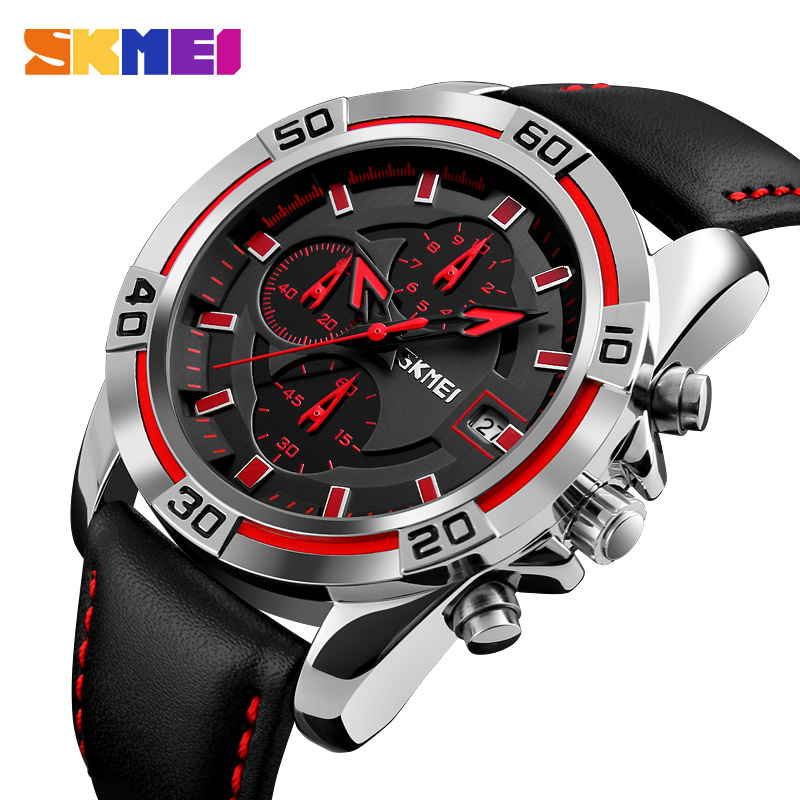 SKMEI Fashion Watch Men Leather Top Luxury Military Quartz Wristwatches Waterproof Outdoor Sports Watches Relogio Masculino 9156 2017 new top fashion time limited relogio masculino mans watches sale sport watch blacl waterproof case quartz man wristwatches