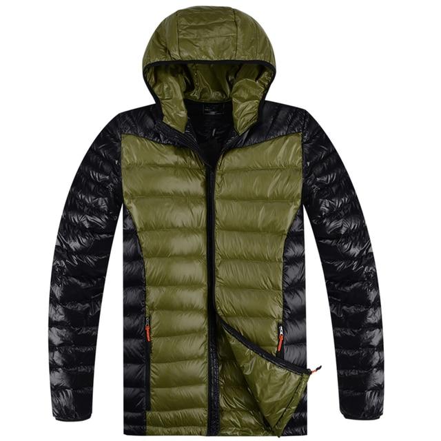 LESMART Mens New Winter Coat Jacket Fashion Business Casual Contrast color Light Hooded Slim Fit Patchwork Short Outerwear
