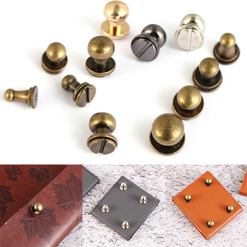 10pcs/Set Round Monk Head Screws Leather Craft Belt Wallet Solid Brass Nail Rivets Screws Bags Accessories Tacks Clothes Garment