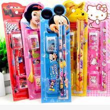 10 упаковок/лот 5 в одном дисни Микки Белоснежка кошка автомобиль карандаш ручка для письма Канцтовары наборы дети день рождения подарок