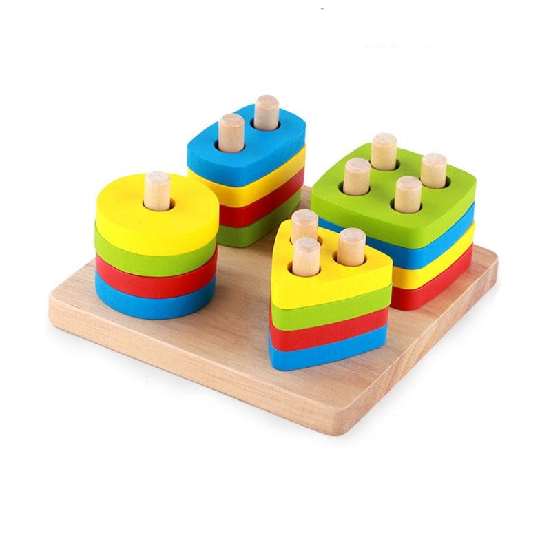 YunNasi Wooden Geometric Sorting Board Blocks Toys For ...