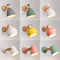 modern led wall lamp sconce wood reading lights for aisel foyer stairs indoor pink greencolor bedside nordic wroughtironfixture