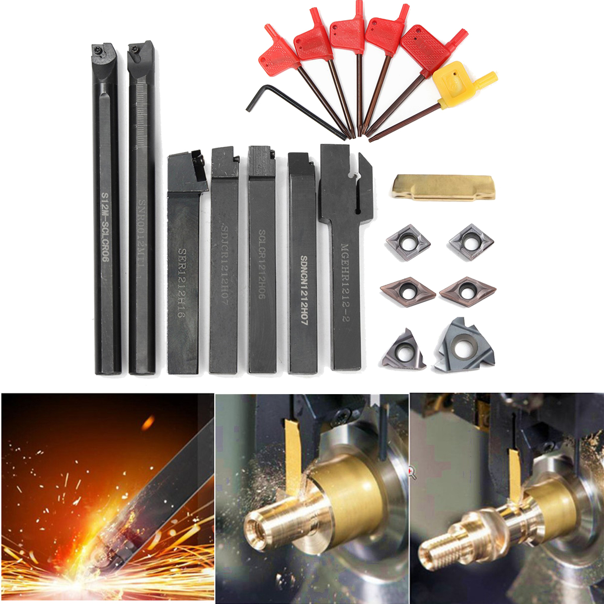 12MM Lathe Turning Tool Holder Boring Bar+ 7 pcs Carbide Inserts + Wrench For Lathe Turning Tool