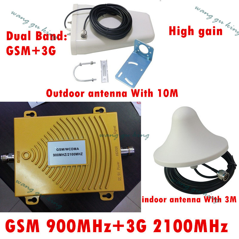 Ensemble complet double bande 2G, 3G signal booster KIT GSM 900 GSM 2100 SIGNAL répéteur amplificateur extérieur et intérieur antennes + câbles