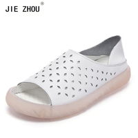 Summer shoes woman Genuine Leather Hollow breathable Casual shoes white Peep Toe Flats Cozy pregnant women's shoes
