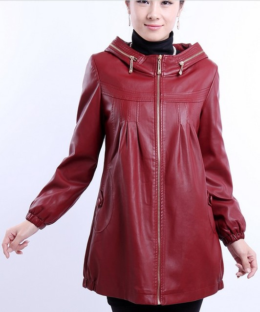 1373f1c3a4a Plus size 5XL leather jacket women 2018 autumn and winter leather long  clothing with a hood cotton leather ladies black jackets