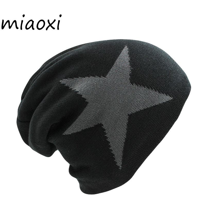 miaoxi Casual Knit Women Big Star Winter Hat Warm Fashion Knitting Cap For Woman Male Beanie Skullies Best Female Gorro On Sale new winter male and female cartoon glasses color embroidery knitting wool hat warm hat hedging hat skullies m144