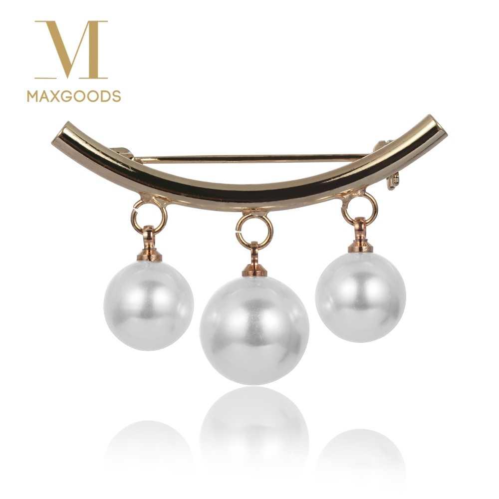 Fashion Disimulasikan Mutiara Bros Pin Dress Hiasan Berlian Imitasi Gesper Pin Perhiasan Bros Hadiah untuk Perhiasan Pria Wanita