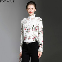 Laides White Lace Blouse Women Long Sleeve Floral Print Elegant Shirt Tops 2018 New Spring Hollow