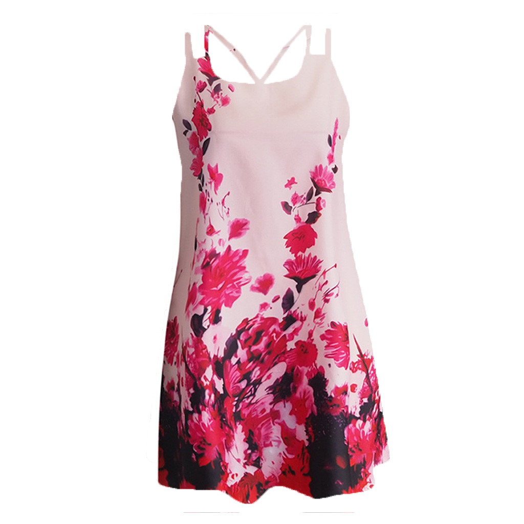 HTB1h0uqPr2pK1RjSZFsq6yNlXXaT Vintage Boho Women Summer Dress Sleeveless Beach Flower Printed Short Mini dresses woman party night beach dresses vestidos NEW