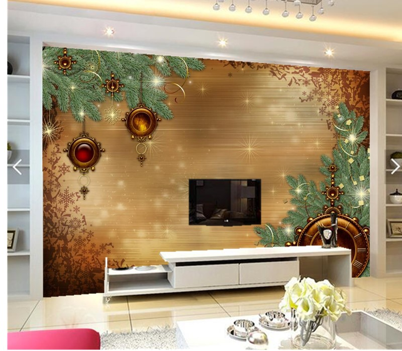 Custom 3D murals,Holidays Christmas Clock Branches papel de parede,hotel coffee shop living room sofa TV wall bedroom wallpaper custom 3d murals cartoon wolf papel de parede hotel restaurant coffee shop living room sofa tv wall children bedroom wallpaper