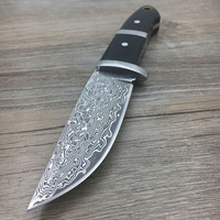 Survival Damascus Steel Hunting Knives Ox Horn Handle Amry Knife Damascus Steel Outdoor Camping Tool