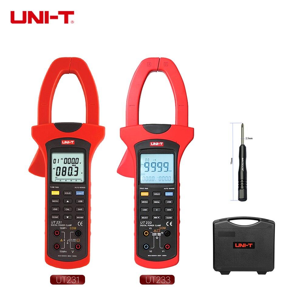 UNI-T Digital Power Clamp Meter UT233 UT231 3 Phase Sequence Test 1000A True RMS Positive Reverse Phase Deficiency USB Transfer uni t ut243 true rms harmonic analysis clamp multimeter 3 phase 600v 1000a