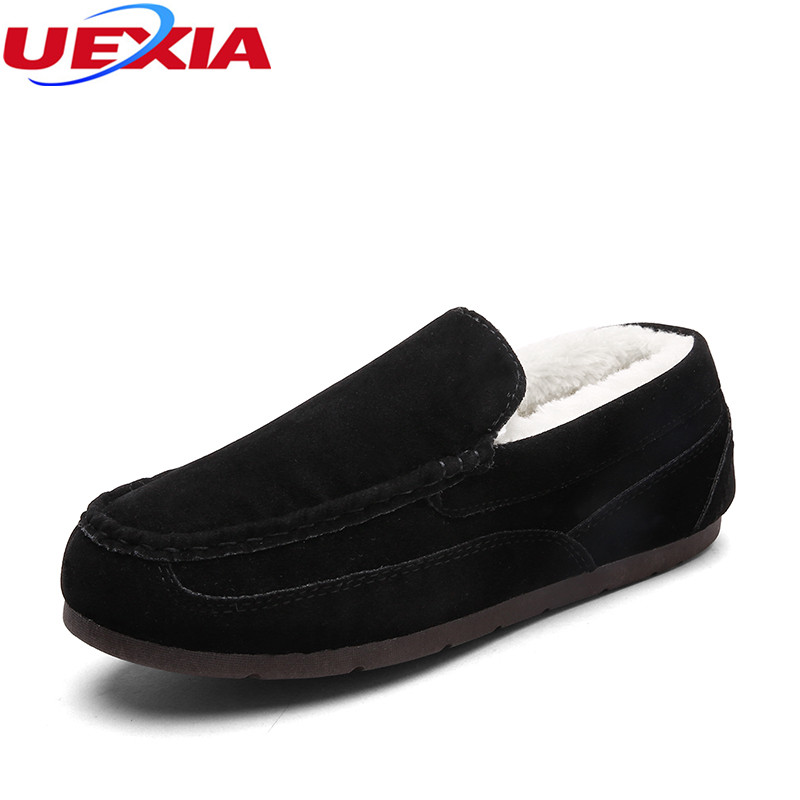 UEXIA Unisex Winter New Plush Inside Men Snow Fashion Flock Men Shoes Loafers Ankle Warm Flats Cotton Comfortable Causal Shoes