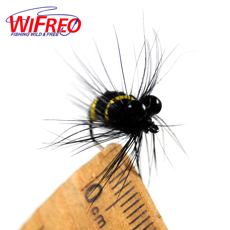 [10PCS] New Wifreo #12 Black & Yellow Bumble Bee Fly Bass Trout Lure New Style Dry Flies with Black Bead Eyes fly ff243 black