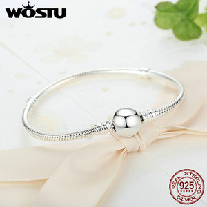 Image 5 - Luxe 100% 925 argent Sterling étincelant coeur serpent chaîne ajustement Original bracelet à breloques & bracelet pour les femmes bijoux fins XCHS916