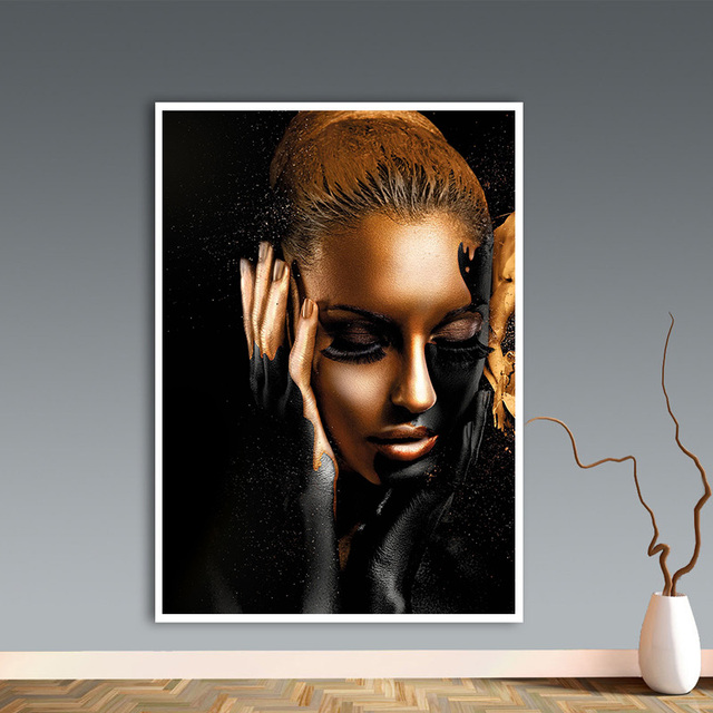 Gold Nude African Art Woman Oil Painting on Canvas Cuadros Posters and Prints Scandinavian Wall Picture