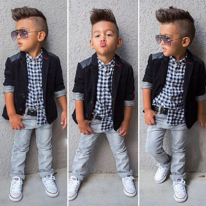 2018 Autumn Kids Boy Clothes Set 3 Pieces Suits Coat+plaid T-shirt+Jeans Children Little Casual Boys Clothing Sets 2-8 Years