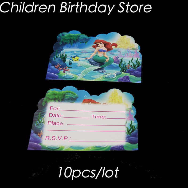10 Unids Lote Invitaciones De La Sirenita Decoraciones De Cumpleaños De La Sirenita Tarjetas De Invitaciones