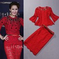 New Hot!2014 Spring Women Heavy Diamond Beads Lace Tops Outerwear+ Pencil Belted Lace Skirt (1Set ) Formal Skirt Suit Clothes