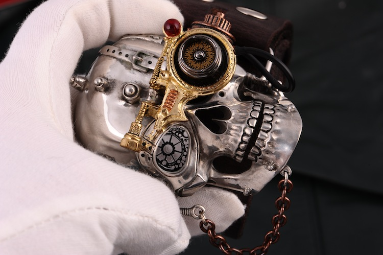 COOL Handmade Tin Alloy Skull Punk Men Belt Buckles Cowhide Genuine Leather