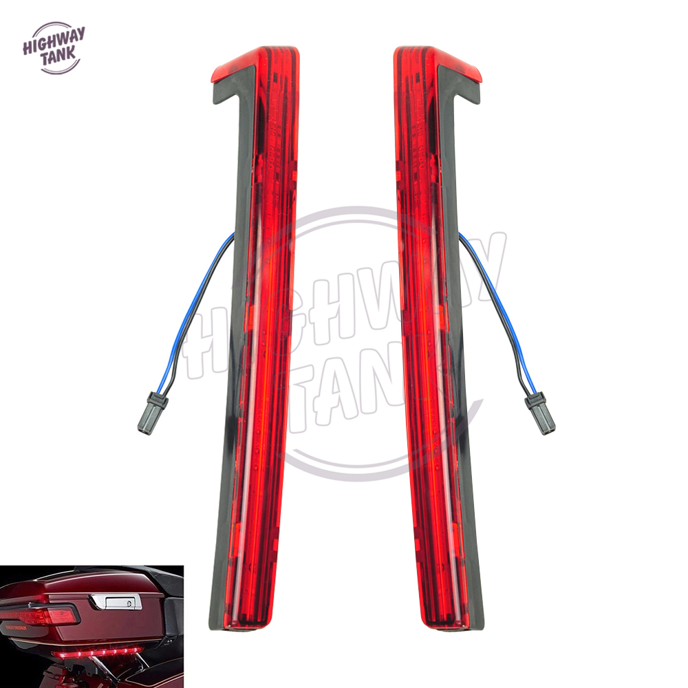 Red Motorcycle Tour Pak Pack Accent Side Panel With LED Light case for Harley Davidson Touring Trunk 2014 2015 2016 2017 trunk luggage rack with built in light for harley davidson hd air wing tour pak