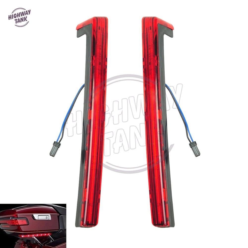 Красный мотоцикл Тур Пак пакет Accent боковые панели со светодиодной подсветкой чехол для Харлей Дэвидсон туринг багажник 2014 2015 2016 2017