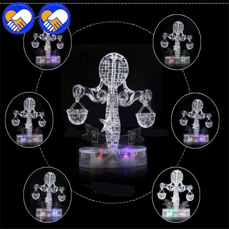 Игрушка Мечта 3D Crystal Puzzle мигающий светодиод двенадцать созвездий гороскоп/Libra головоломки DIY игрушка образования игрушечные лошадки