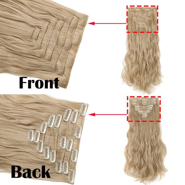 SNOILITE 24inch 8pcs/set Wavy 18 Clips in False Hair Styling Synthetic Hair Extensions Hairpiece Extension hair 4