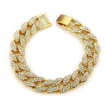 Hiphop Full Diamond Cuban Gold Necklace Rhinestone Golden Finish Miami Link Chain Mens Jewelry
