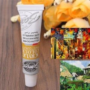 6 مللي 12 الألوان المهنية الاكريليك الدهانات مجموعة اليد رسمت طلاء جدران النسيج الطلاء الزاهية الملونة وازم الفن شحن فرشاة